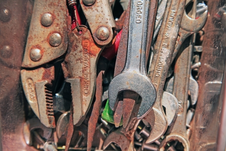 Rusty tools in the old box Stock Photo - 17436424