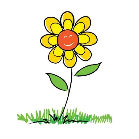 schets van bloeiende uit bloem op een stengel