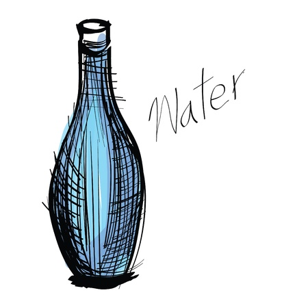 water drink in bottle and glass. rough drawing. Vector