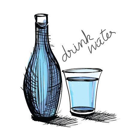 water drink in bottle and glass. rough drawing.