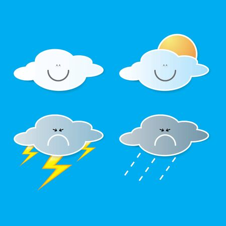 sunny cold days: collection of clouds, Weather icon for design. Illustration