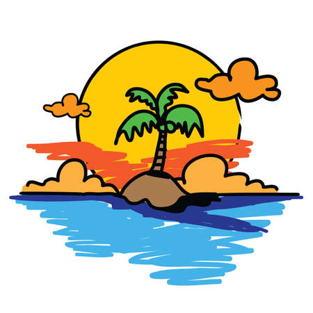 palm tree on the island hand drawn Stock Vector - 17521888