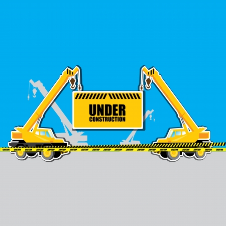 cartwheel: vector mobile crane with Under construction hanging tag