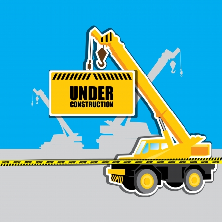 mobile crane: vector mobile crane with Under construction hanging tag