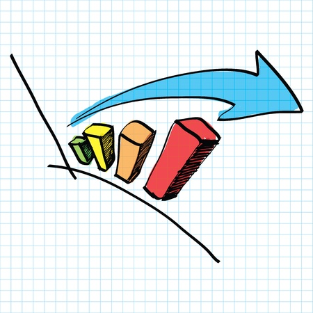 back to the future: graph chart and arrow hand drawn Illustration