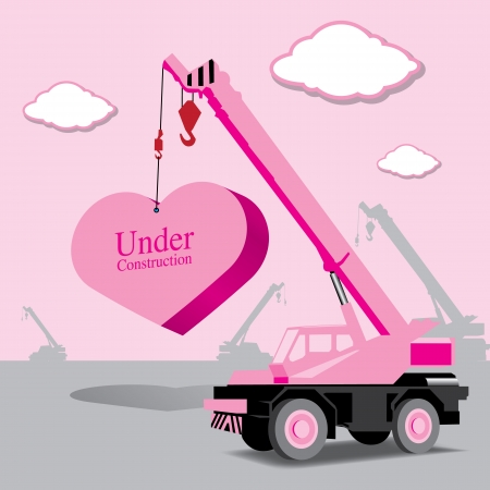 cartwheel: heart and crane under construction (love concept)