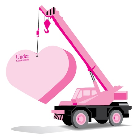 heart and crane under construction (love concept)