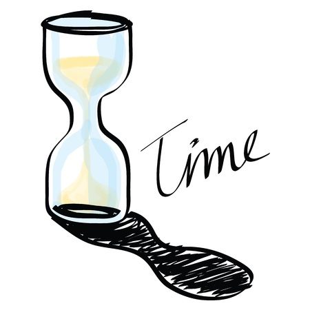watch glass:  hourglass hand drawn