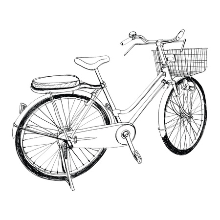 Old bicycle - sketch illustration hand drawn  Vector