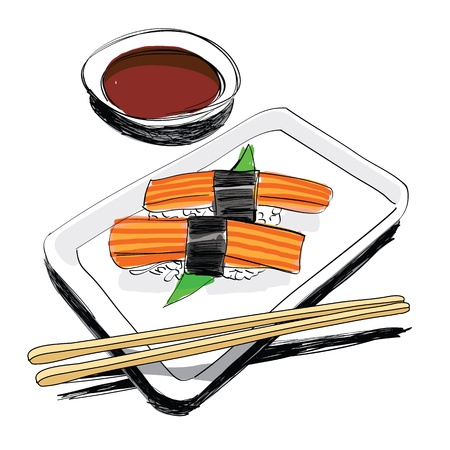 Japanese Cuisine - food sketch hand drawn