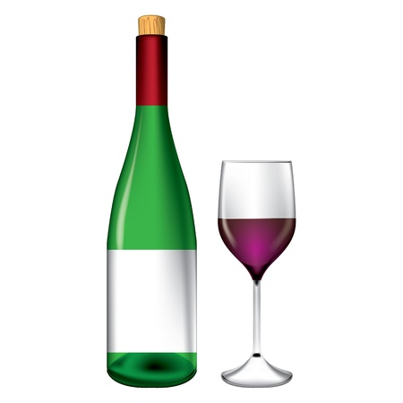quencher: Bottle and wine glass vector