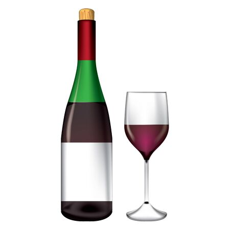 Bottle and wine glass vector