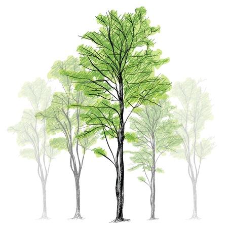 Tree - Hand Getrokken Vector Illustratie