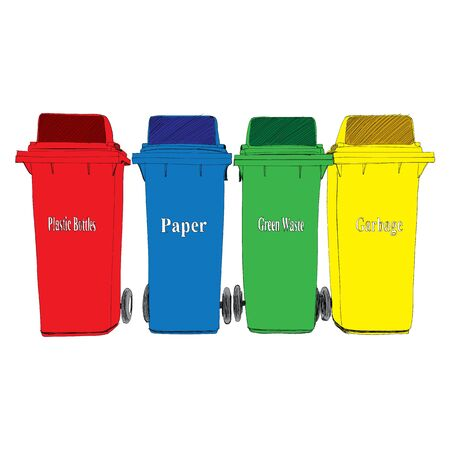 space rubbish: Colorful Recycle Bins vector Illustration