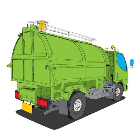 dispose: garbage truck - Hand Drawn
