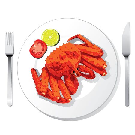 Alaskan king crab with fork and knife Stock Vector - 18290922