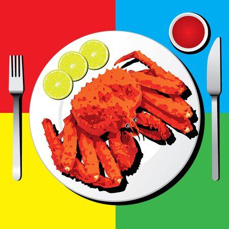 Alaskan king crab with fork and knife Ilustração