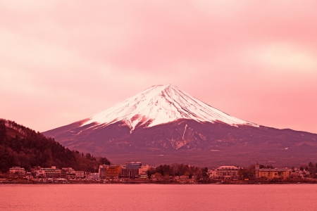 snow capped mountain: mountain Fuji in the early morning Japan Stock Photo