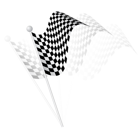Checkered flag waved. Stock Vector - 18420352