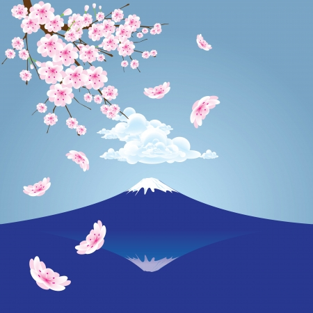 The abstract of Fuji mountain  and Cherry blossoms vector Vector