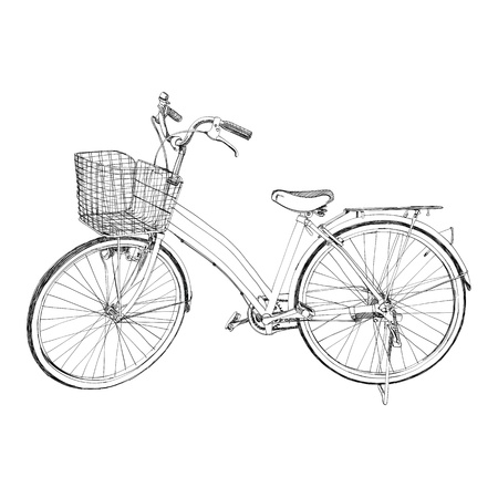 The abstract of Old bicycle - sketch illustration hand drawn