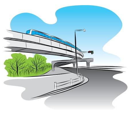 bridge hand: The abstract of Road under overpass sky train bridge hand drawn