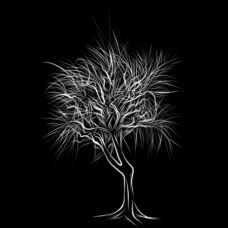 background wood: The abstract of large bare tree without leaves - hand drawn Illustration