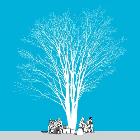 large bare tree without leaves and people - hand drawn