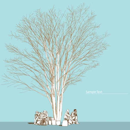 large bare tree without leaves and people - hand drawn Vector