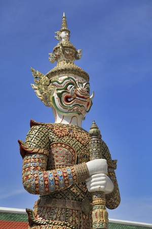 a cudgel: Demon Guardian Wat Phra Kaew Grand Palace Bangkok Thailand Stock Photo