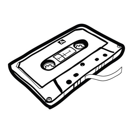 tape cassette: cassette tape - Hand drawn