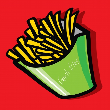 frites: The abstract of French fries - Hand draw. Illustration