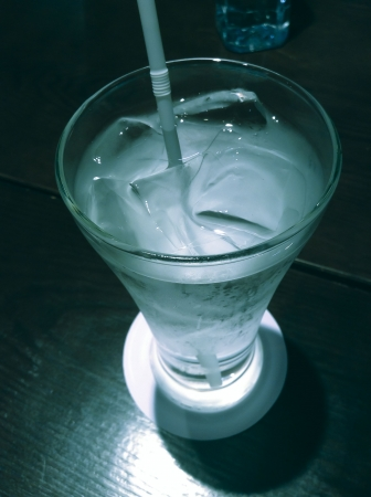 very cold: Glass of very cold water with ice