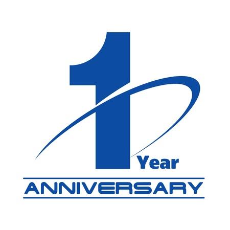 one year old: El resumen de aniversario 1 a?reativa vector concepto Vectores