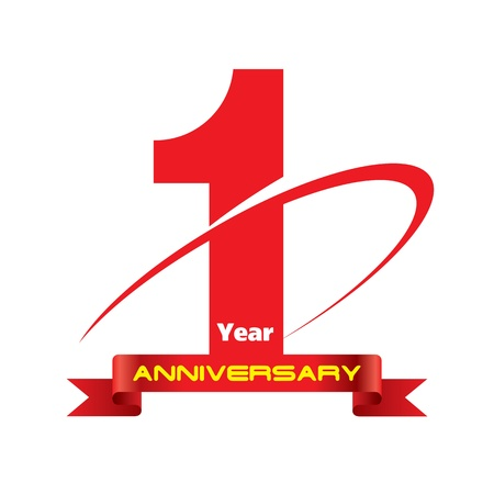 one year old: The abstract of 1 year anniversary creative concept vector