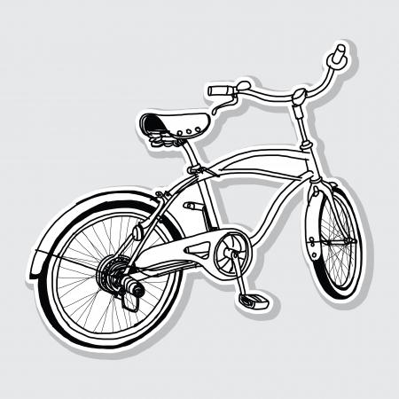 one wheel bike: bicycle hand-drawn