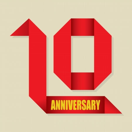 The abstract of 10 years anniversary ribbon illustration