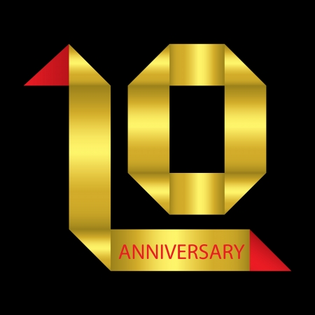 10th: The abstract of 10 years anniversary ribbon illustration