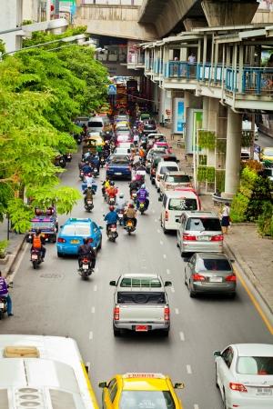 BANGKOK - JUN 17: Public car while stuck on the downtown streets of Bangkok. on Jun 17, 2013 in Bangkok, Thailand.