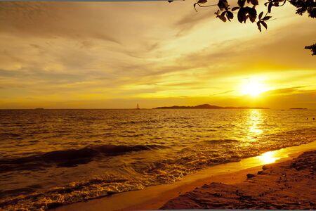 Colorful sunset over sea Pataya beach Thailand photo