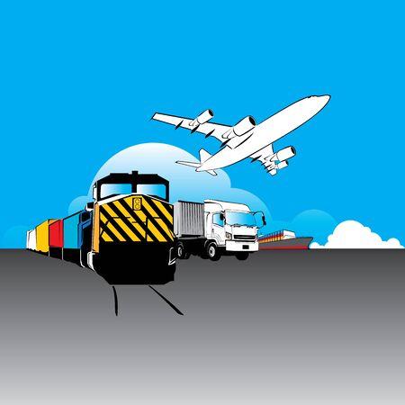 world wide cargo transport concept vector Illustration