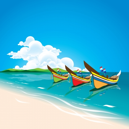 The abstract of Summer sea with Local fishing boats in the south of Thailand. Stock Vector - 20948331