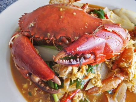 chili: Fried crab with curry powder Thailand cuisine