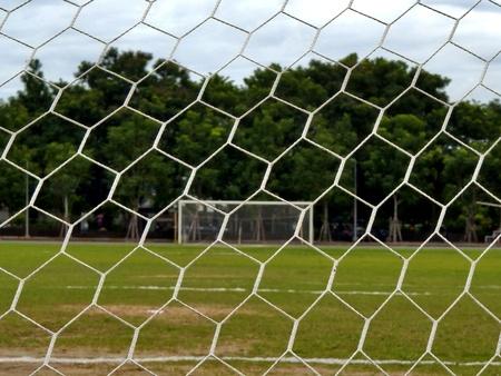 A vacant soccer goal  photo