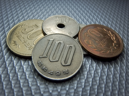 Japanese money, silver coin, yen 免版税图像