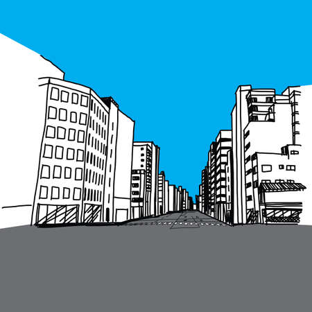 down town: CITY HAND DRAWN Illustration