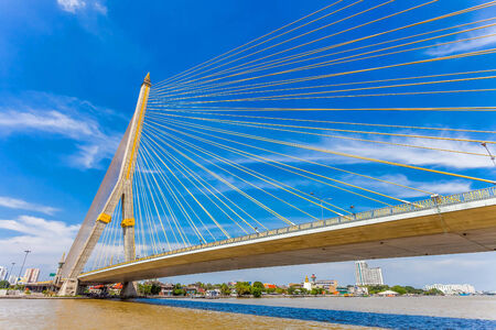 The Rama VIII bridge over the Chao Praya river in Bangkok, Thailand