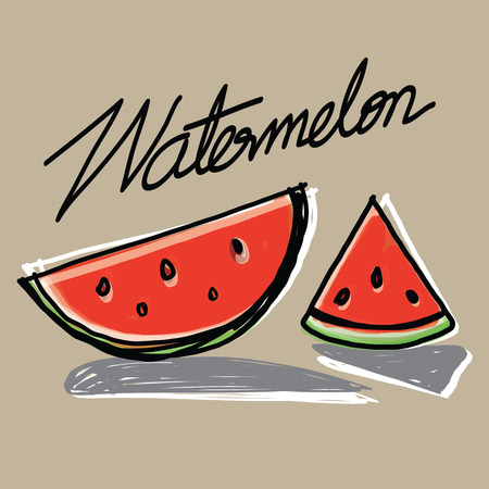 The abstract of Watermelon slices hand - drawn