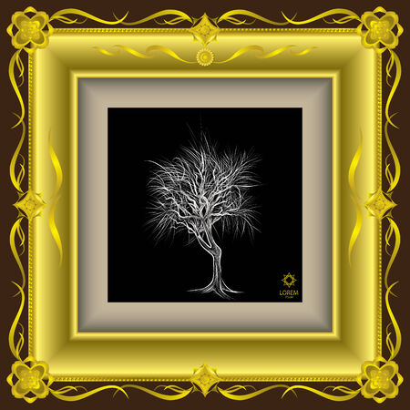 frame vector: The abstract of tree hand - drawn in gold frame vector