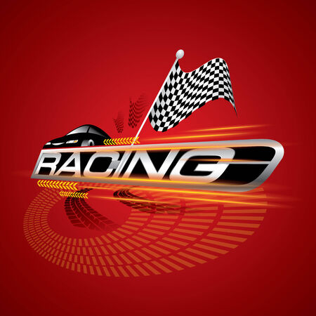 racecourse: The Abstract of Racing with Checkered Flags Concept Vector